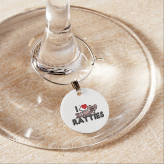 I Love Ratties Wine Charm