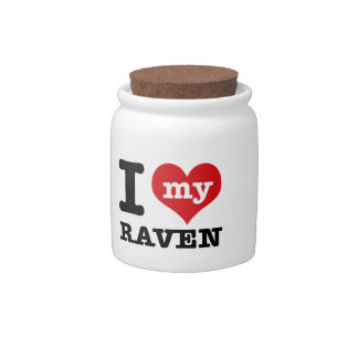 I Love Raven Candy Dishes