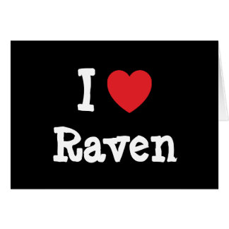 I love Raven heart T-Shirt Greeting Cards