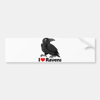 I Love Ravens Car Bumper Sticker