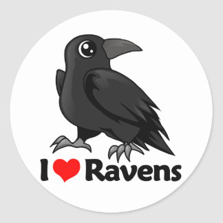 I Love Ravens Classic Round Sticker