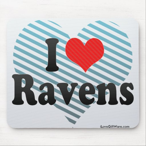 I Love Ravens Mouse Pads