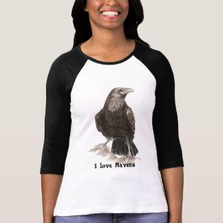 I love Ravens Quote Watercolor Raven Bird T-Shirt