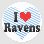 I Love Ravens Round Sticker