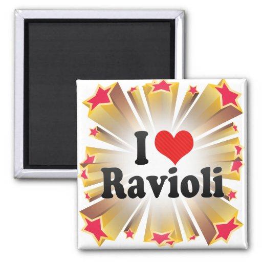 I Love Ravioli 2 Inch Square Magnet