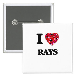 I love Rays 2 Inch Square Button