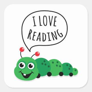 I love reading bookworm square sticker