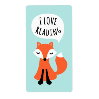 I love reading cute cartoon fox on blue background shipping label