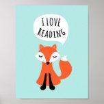 I love reading cute cartoon fox on blue background print