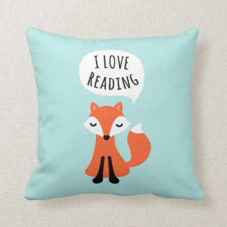 I love reading cute cartoon fox on blue background throw pillow