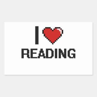 I Love Reading Digital Retro Design Rectangular Sticker