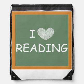I Love Reading Drawstring Bag
