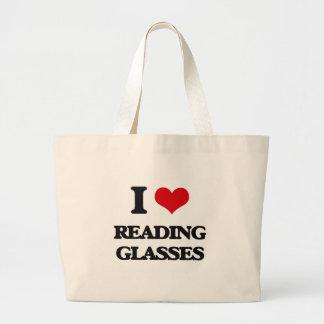 I Love Reading Glasses Canvas Bag