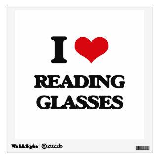 I Love Reading Glasses Wall Skins