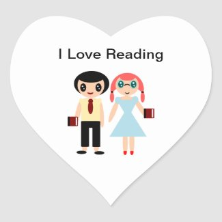 I Love Reading Heart Sticker
