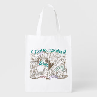 I Love Reading Illustrated Book  Back to School Grocery Bag