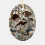 I Love Reading Double-Sided Oval Ceramic Christmas Ornament