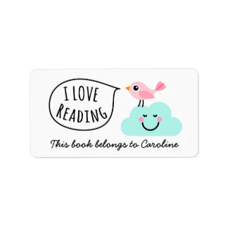 I love reading pink bird happy cloud bookplate