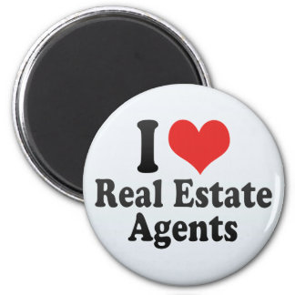I Love Real Estate Agents 2 Inch Round Magnet