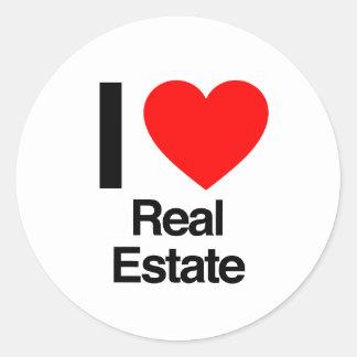 i love real estate classic round sticker