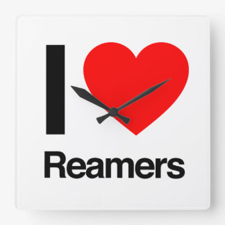 i love reamers square wall clock