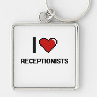 I love Receptionists Silver-Colored Square Keychain