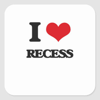 I Love Recess Square Sticker