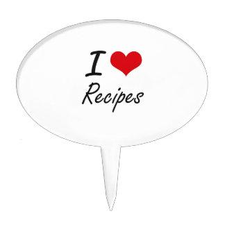 I Love Recipes artistic design Cake Picks