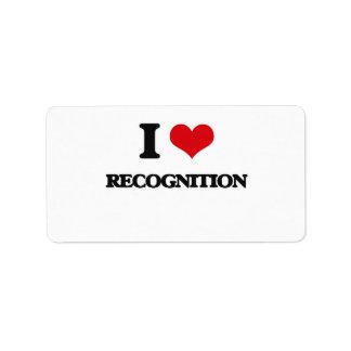 I love Recognition Address Label