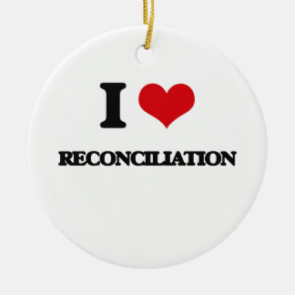 I Love Reconciliation Double-Sided Ceramic Round Christmas Ornament