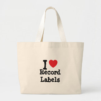 I love Record Labels heart custom personalized Canvas Bags