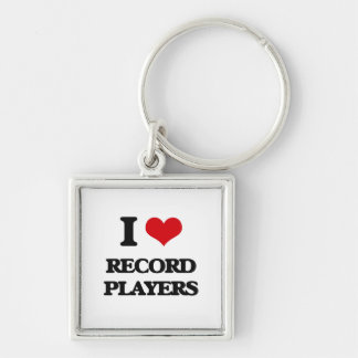 I Love Record Players Silver-Colored Square Keychain
