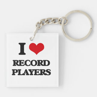 I Love Record Players Double-Sided Square Acrylic Keychain