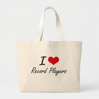 I Love Record Players Large Tote Bag