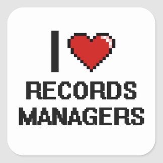 I love Records Managers Square Sticker