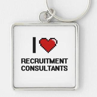 I love Recruitment Consultants Silver-Colored Square Keychain