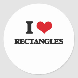 I Love Rectangles Classic Round Sticker