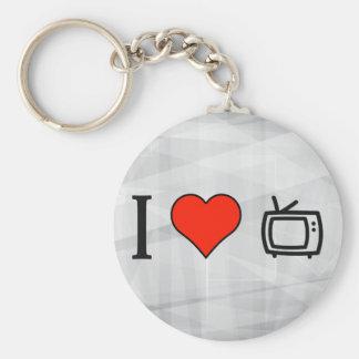 I Love Rectangular Basic Round Button Keychain