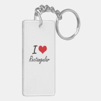 I Love Rectangular Double-Sided Rectangular Acrylic Keychain