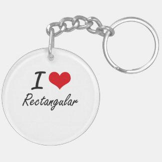 I Love Rectangular Double-Sided Round Acrylic Keychain