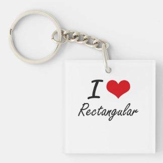 I Love Rectangular Single-Sided Square Acrylic Keychain