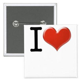 I Love recuerdo Pin Cuadrado