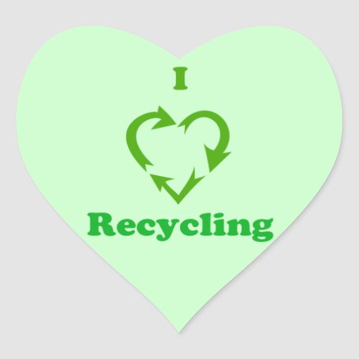 I Love Recycling Heart Stickers