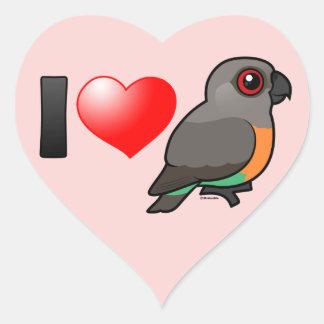 I Love Red-bellied Parrots Heart Sticker