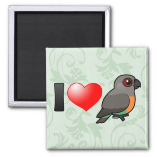 I Love Red-bellied Parrots 2 Inch Square Magnet