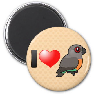 I Love Red-bellied Parrots 2 Inch Round Magnet