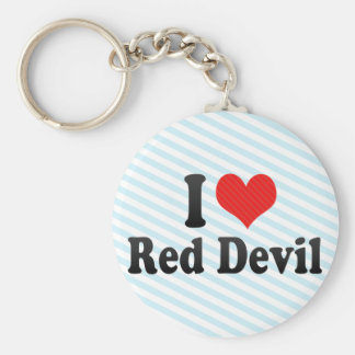 I Love Red Devil Keychains