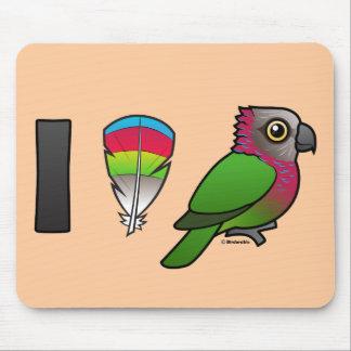 I Love Red-fan Parrots Mousepads