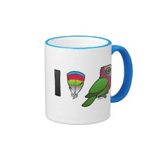 I Love Red-fan Parrots Coffee Mugs