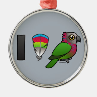 I Love Red-fan Parrots Christmas Tree Ornament